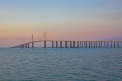 Sunshine Skyway Bridge At Sundown, Over A Pink Sky Royalty Free Stock Image