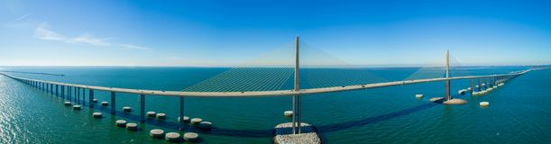 Sunshine Skyway Bridge wide angle aerial panoramic image. Aerial panorama of the Sunshine Skyway Bridge Tampa Florida Bay stock photos