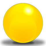 Sunshine Sphere. A bright Yellow Sphere, contoured to make it look as if it were reflecting light, and Placed upon a shadow to show where it sits on the ground royalty free illustration