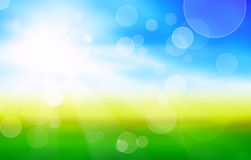 Sunshine spring background with green fields. And blue sky royalty free stock image