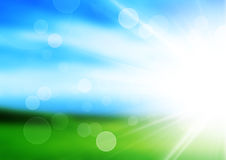 Sunshine spring background with green maedow Royalty Free Stock Photo
