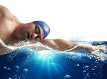 Sunshine swimmer. Swimmer swims in the sea in sunshine Stock Photos