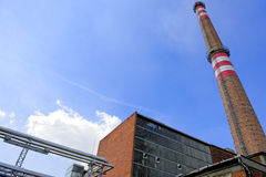 Sunshine with a thermal power plant Stock Photography