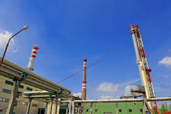 Sunshine with a thermal power plant Royalty Free Stock Photography