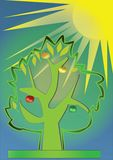 Sunshine tree. Young tree in a sunny day royalty free illustration