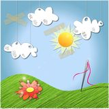Sunshine Vector. Vector illustration of blue sky with clouds hanging from above Stock Photo