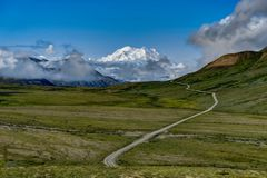 Sunshine view towards Mount Denali former Mount McKinley in Dena. Photo taken in Denali National Park Alaska, United States of America. Denali National Park is stock photo