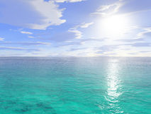 Sunshine on the water. Computer generated illustration of the sun shining on tropical sea water royalty free stock photos