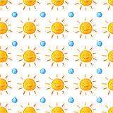 Sunshine watercolor pattern. Cute smiling sun. Hand painted illustration. Stock Photo