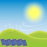 Windmills and solar power plant Stock Photos