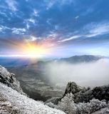 Sunshine in winter mountains Stock Photos