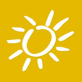 Sunshine yellow. Simplified shape of a white sun on yellow sky Royalty Free Stock Photos