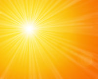 Sunshine. Yellow sunny sun light on a bright and warm orange sky royalty free illustration