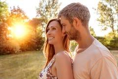 Sunshinebetween boyfriend and girlfriend Royalty Free Stock Photo