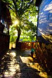Sunshines of The ancient town of Lijiang. The morning of The ancient town of Lijiang was very quiet, tourists was sleeping after a night of traveling, stores Stock Photography