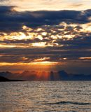 Sunshines at the seaside. Sunrise in Northern Norway. Sight from Skutvik to Lofoten Royalty Free Stock Image