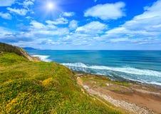 Sunshiny Atlantic beach view. Royalty Free Stock Photo