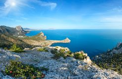 Sunshiny coastline of Novyj Svit summer view Crimea, Ukraine. Coastline of  Novyj Svit  reserve summer sunshiny panorama Capchik Cape, Crimea, Ukraine. Three Stock Photos