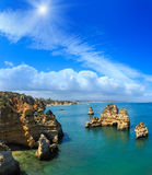 Sunshiny Ponta da Piedade Algarve, Portugal. Sunshiny Ponta da Piedade group of rock formations along coastline of Lagos town, Algarve, Portugal.  Two shots Stock Photography