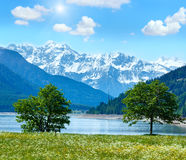 Sunshiny Reschensee summer landscape Austria. Royalty Free Stock Images