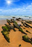 Sunshiny rocky sandy beach Portugal. Rock formations on sandy beach and sunshiny blue sky with cumulus clouds Algarve, Costa Vicentina, Portugal Stock Images