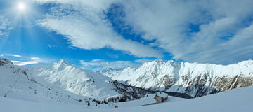 Sunshiny Silvretta Alps winter view Austria. Panorama. Royalty Free Stock Images