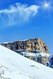 Sunshiny winter mountain landscape. Sunshiny winter mountain landscape Sella Pass , Italy Stock Photography