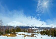 Sunshiny winter mountain Tatranska Lomnica, Slovakia. Sunshiny winter mountain landscape Tatranska Lomnica, Slovakia, High Tatras Stock Photos
