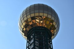 Sunsphere Tower in Knoxville, Tennessee. It is a 266 ft high hexagonal steel truss structure, topped with a 75 ft gold-colored glass sphere that served as the Stock Photos