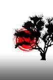 Sunspot vermelho com árvore ilustração stock