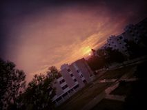 Sunsrise på PRECIS dormen Royaltyfri Fotografi