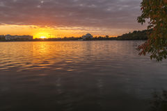Sunsrise at at the Tidal Basin. The sun rises behind the Tidal Basin located in West Potomac Park, Washington, D.C.. The Jefferson Memorial is visible onthe far royalty free stock photos