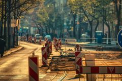Sunsstreet under reconstruction early in the morning sunshine royalty free stock photos
