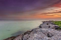Sunst över havet fotografering för bildbyråer