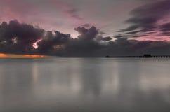 Sunst sobre o oceano Foto de Stock