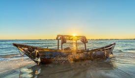 Sunstar inside boat rotting on beaches Royalty Free Stock Photo