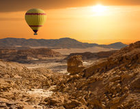 Sunstet Sinai desert and balioon Royalty Free Stock Photo