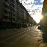 Sunstreet en Francfort Fotografía de archivo libre de regalías