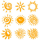 sunsymbolvektor royaltyfri illustrationer