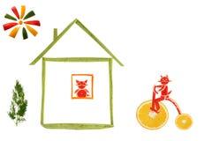 Sunt äta. Gjorda hus och roliga små katter?? av grönsaker Fotografering för Bildbyråer