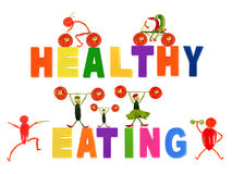 Sunt äta. Litet roligt folk som göras av grönsaker Fotografering för Bildbyråer