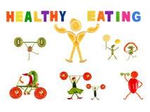 Sunt äta. Litet roligt folk som göras av grönsaker och frukt Arkivbilder