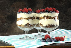 Sunt banta den höga diet-fiberfrukosten med klisädesslag, yoghurt och bärglasscoupar med garnering Fotografering för Bildbyråer