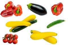Sunt begrepp Samling av ny rå sund grönsakisolator royaltyfri fotografi