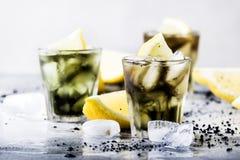 Sunt mat- och drinkbegrepp: med is svart detoxlemonadvatten med krossade is- och citronskivor i exponeringsglas, aktiverat kol, royaltyfri foto