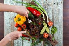 Sunt näringsrikt proteinmål Den spensliga kvinnan räcker bitande wel Arkivbilder