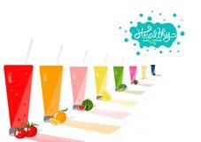Sunt och att dricka produktsamlingsjämvikt banta menyn, nya dricka saftiga begrepp för produkt, för grönsak och för frukt på vitt royaltyfri illustrationer