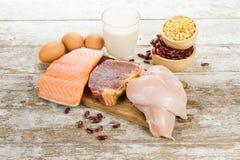 Sunt och banta mat med höjdpunkten - proteinmat av rent kött arkivfoton