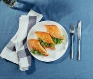 Sunt smörgåssnitt in i stycken som visar smaklig ingredienssalam Royaltyfri Foto