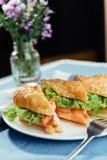 Sunt smörgåssnitt in i stycken som visar smaklig ingredienssalam Fotografering för Bildbyråer
